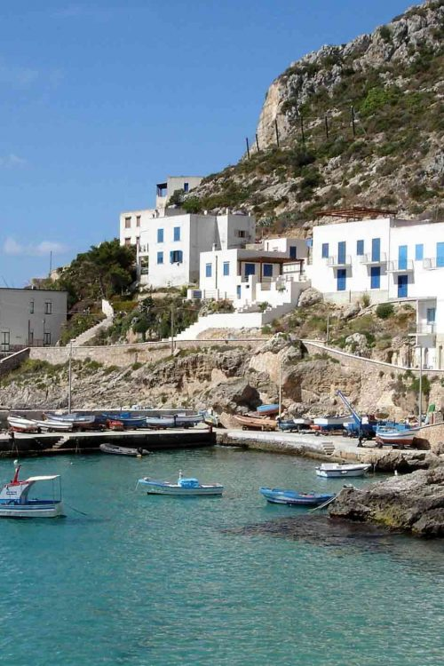 Typical buildings of the Egadi islands overlooking the sea