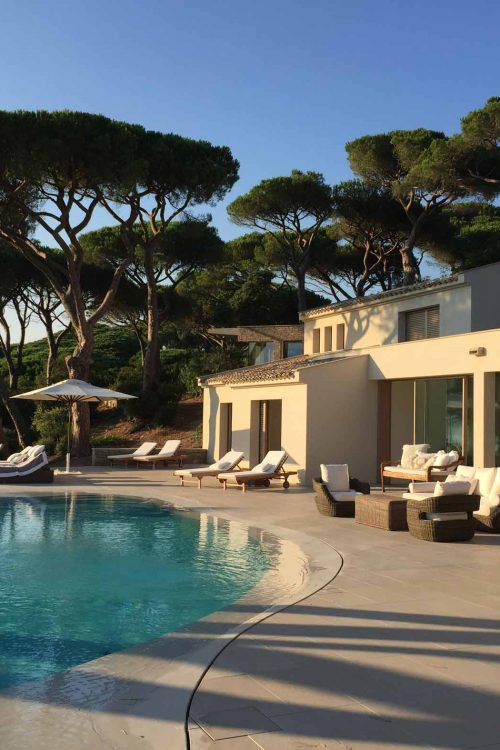 View of Villa Saint Tropez with wooden lift and slide doors