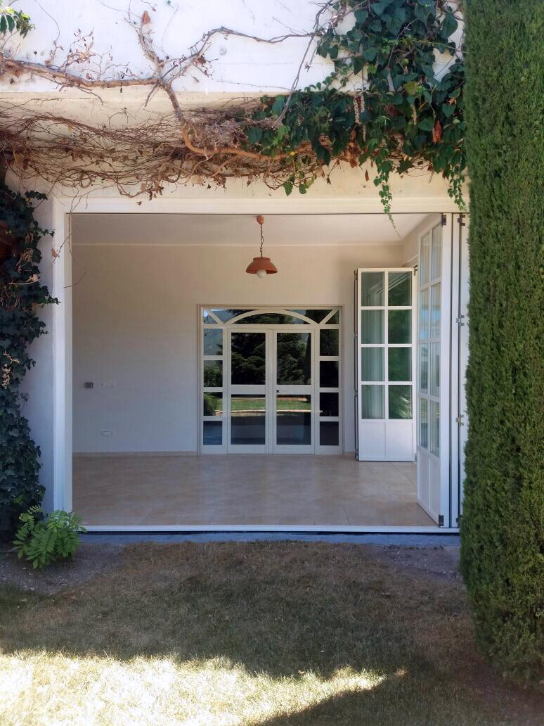 View of the patio with Skyline Bifold patio doors