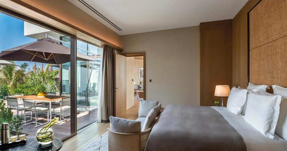 View of a bedroom with wooden lift and slide with aluminium cladding