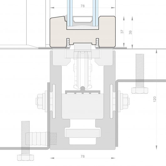 Technical drawing of the built-in guide of the Skyline lift and slide