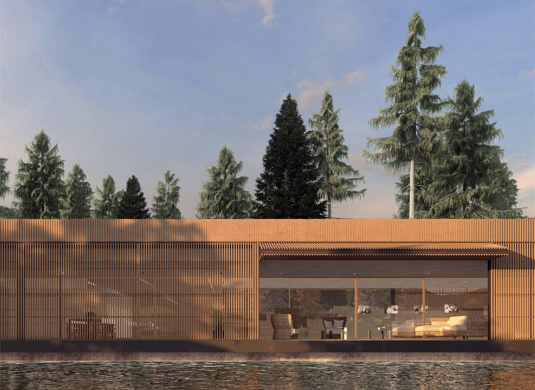 dettaglio realizzazione casa con frangisole in legno