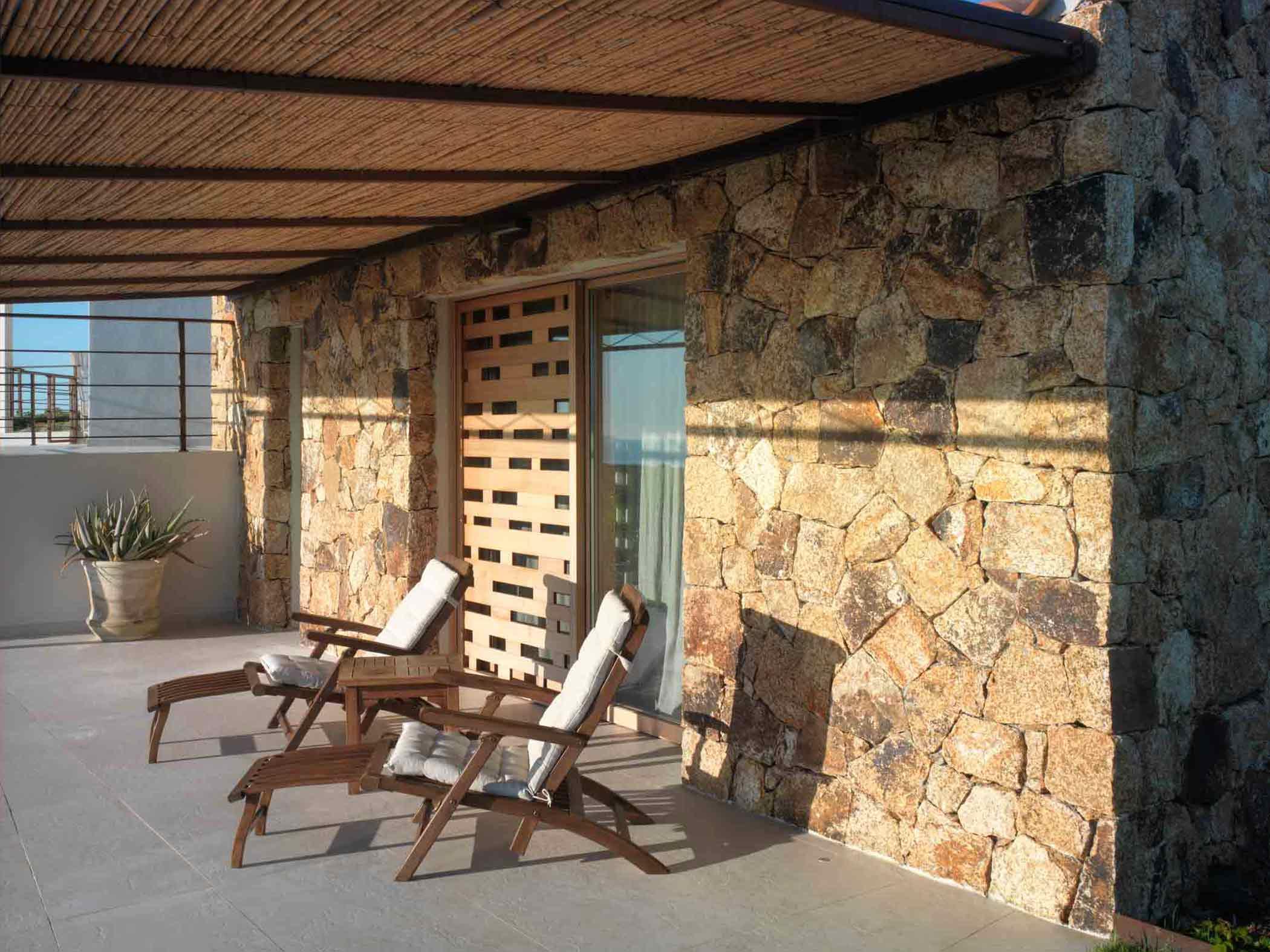 External view of a sliding wooden sunshade