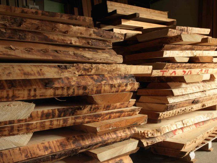 Raw timber ready for processing