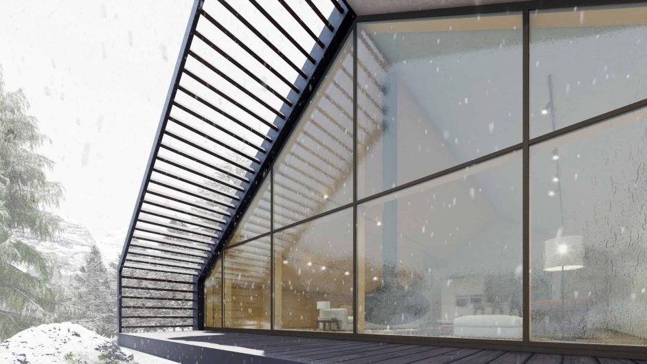 Overall view of a glazed facade with thin profiles covered in aluminum