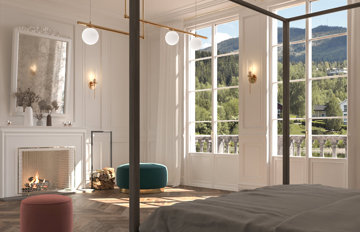 View of a bedroom with white lacquered patio doors