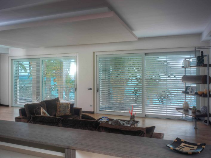View of the living area with lowered sunshade