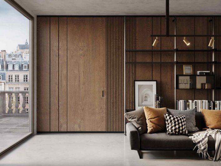 Lady door with retractable effect wood