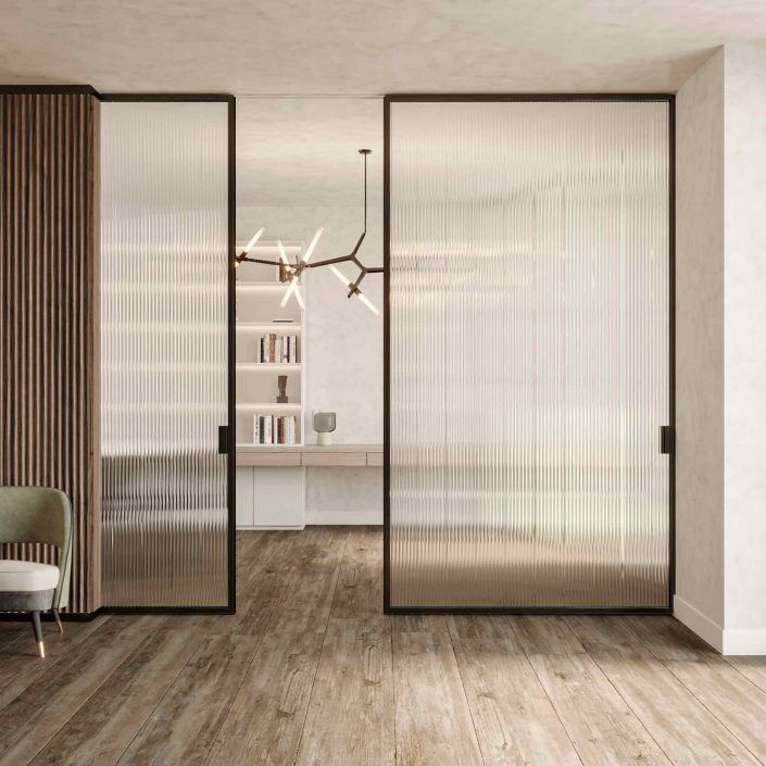 Lady sliding door with wooden frame and ribbed transparent glass