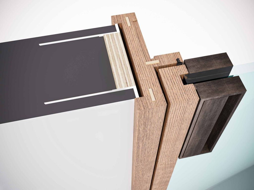 Technical node of the fixed frame with trims of the Lady swing door