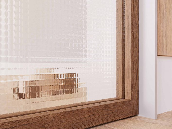 Detail of the transparent squared glass finish