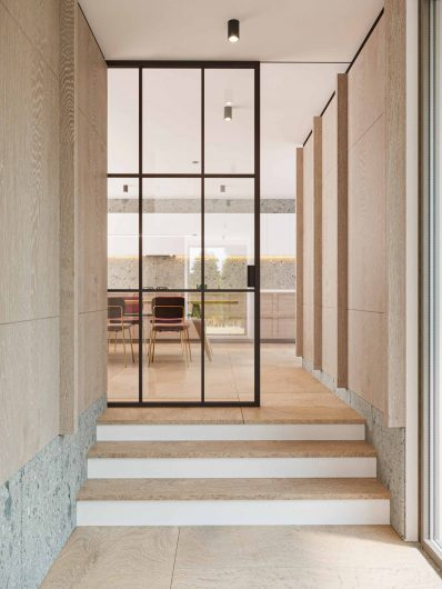Lady sliding door in mahogany with inglesine and transparent glass
