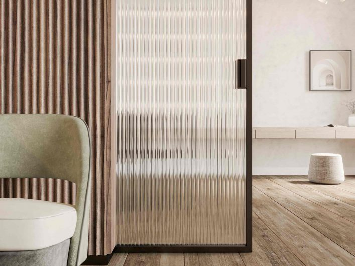 Wooden sliding door Carminati with ribbed glass